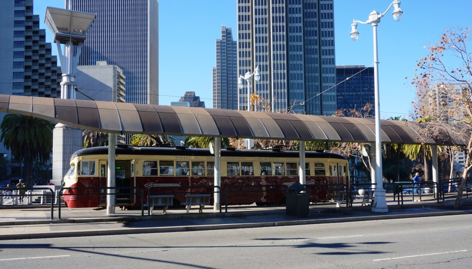 Vintage cable car on Embarcadero
