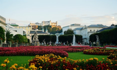 Mirabell Gardens, with Hohensalzburg Castle looming in the distance