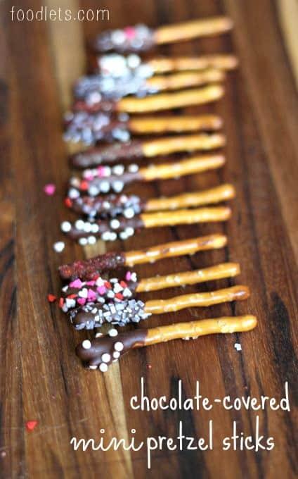 Chocolate Covered Mini Pretzel Sticks With Sprinkles