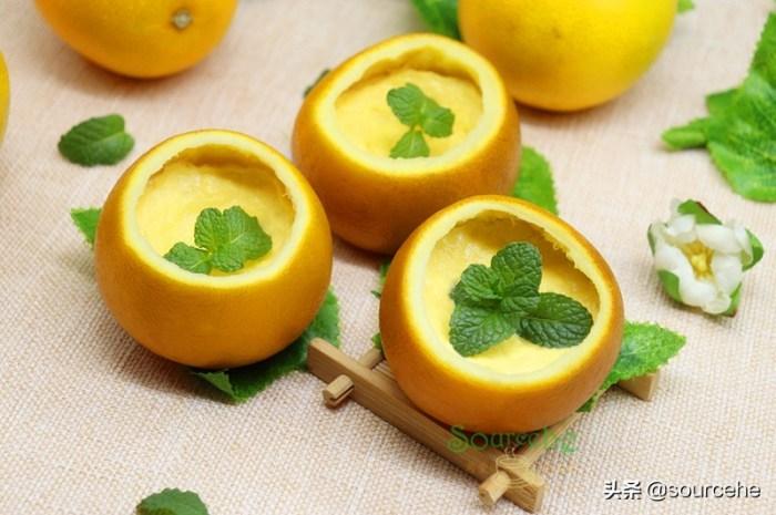 橙子新吃法用橘子皮做碗蒸一蒸,出奇美味