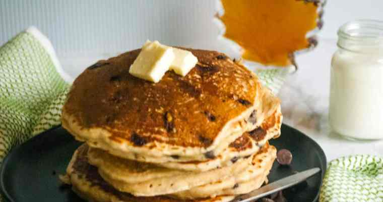 How to make fluffy whole wheat chocolate-chip sourdough pancakes without eggs