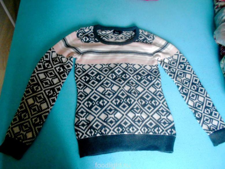 Пуловер женский антрацитовый меланж с узором
