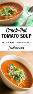 An easy, low-calorie, vegan, and delicious tomato soup recipe perfect for weeknight dinners. Only 86 calories per cup!
