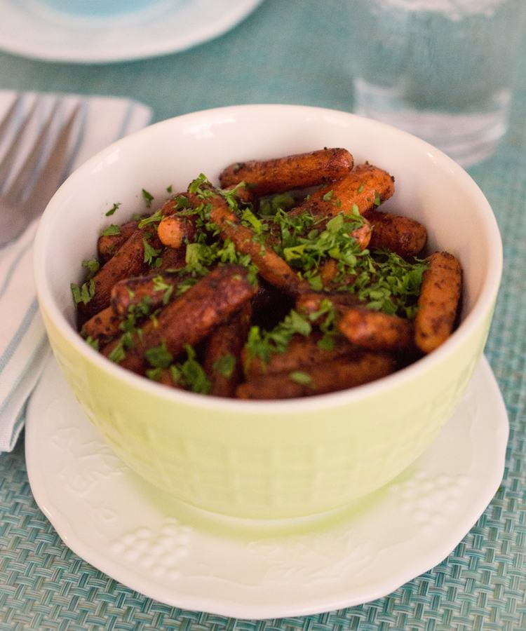 Balsamic roasted carrots is an easy side dish that takes only five minutes to prepare.