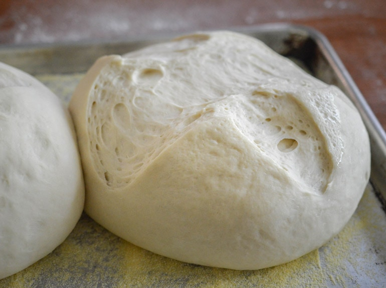 Easy artisan Spanish bread is ready to go into the oven after the dough has risen a second time.