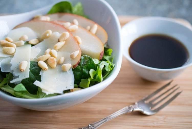 This beautiful Italian salad combines pears, shaved Parmesan and honey-balsamic vinaigrette.