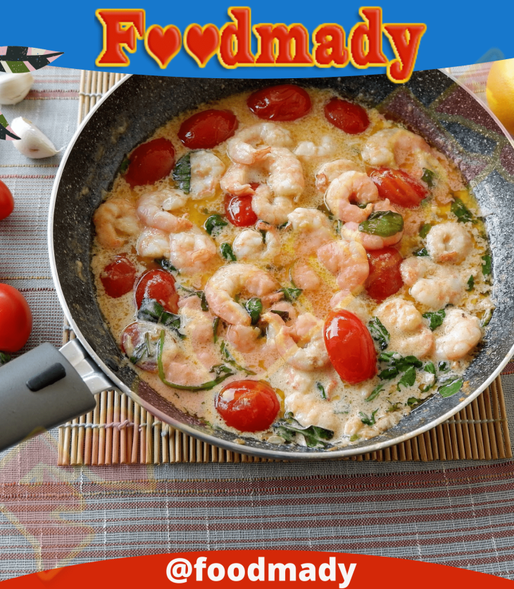 Creamy butter shrimp with tomatoes