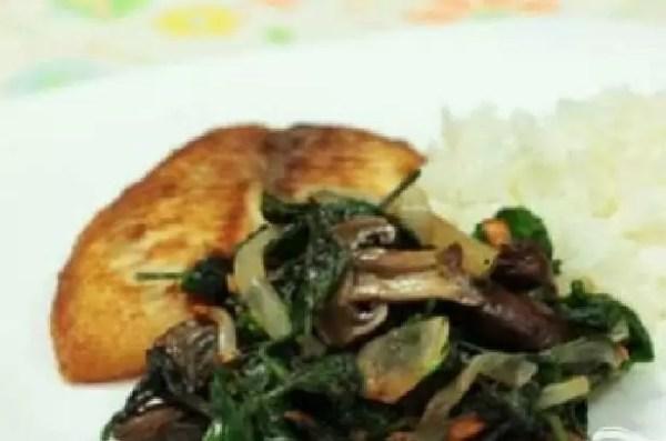 Рецепт Жареные грибы со шпинатом
