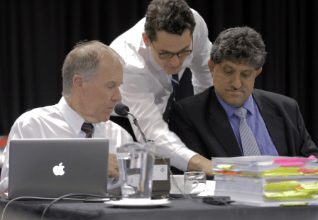 Prof Tim Noakes (left), attorney Adam Pike, and Dr 'Rocky' Ramdass (right). Picture: ROB TATE