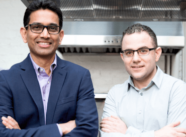 Memphis Meats CEO and cardiologist turned 'meatpreneur' Uma Valeti, left, and co-founder and stem-cell biologist Nicholas Genovese
