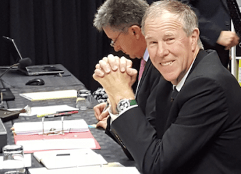 Prof Tim Noakes with advocate Michael Van der Nest in the background.