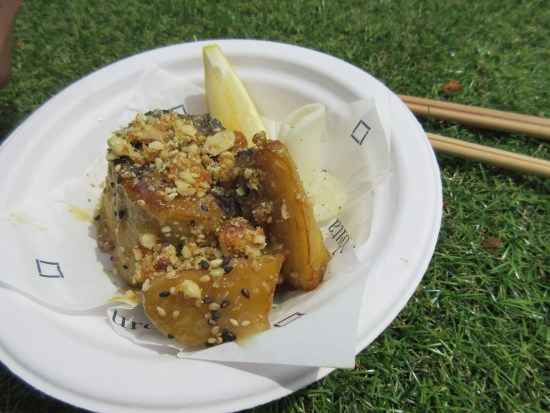 Kurobuta Sticky Miso Grilled Aubergine with Candied Walnuts at Taste of London - www.foodnerd4life.com