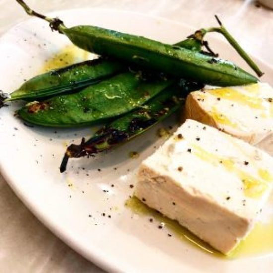 Smoked Ricotta with Grilled Peas in the Pod at Bocca Di Lupo, London