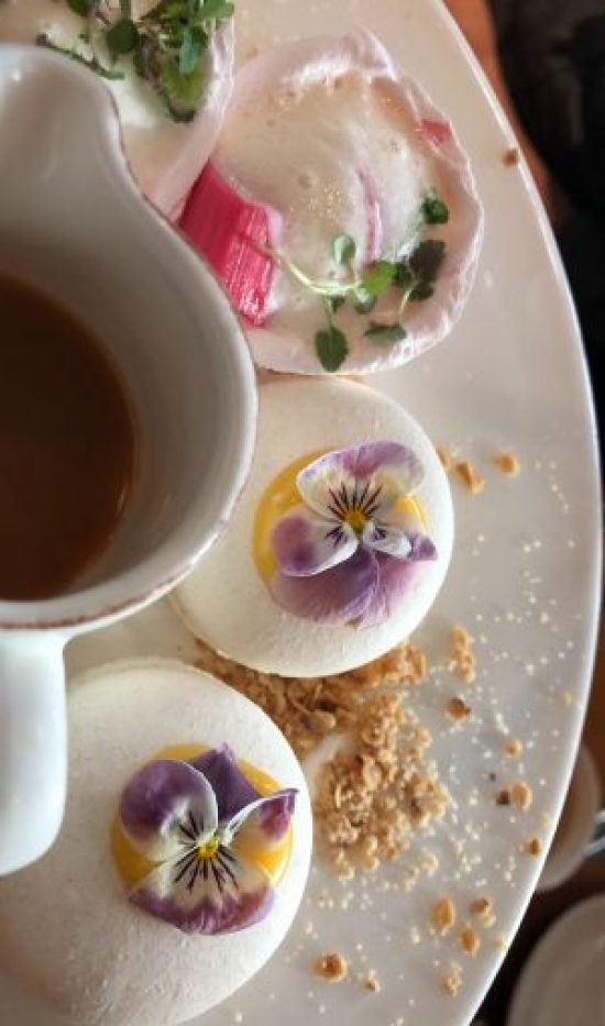 Close Up of Floral Macarons, at afternoon tea at The Salt Room, Brighton