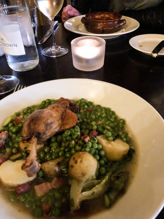 Confit Duck Leg with Wye Valley Asparagus, Baby Gem Lettuce, Peas and Pancetta at Hotel du Vin, Bristol