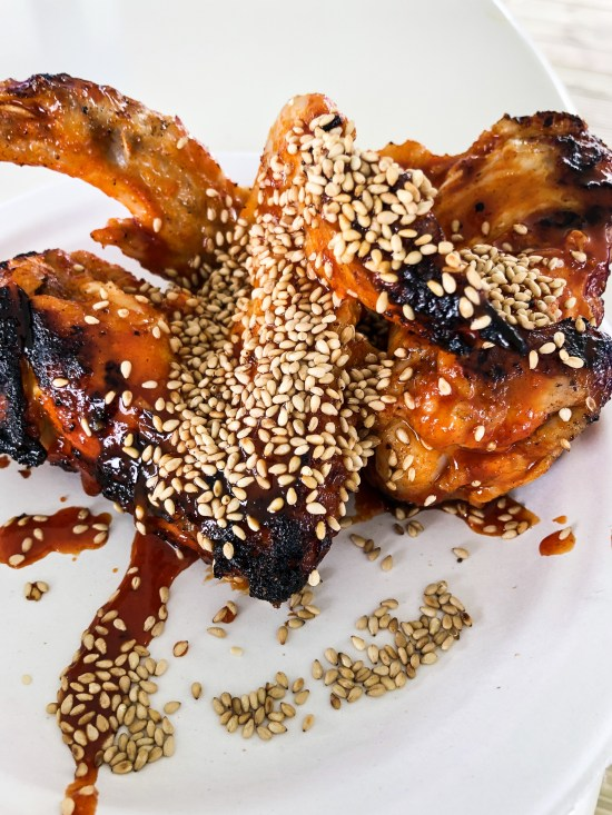 Flesh and Buns - BBQ Chicken Wings with Bone Daddies Wing Sauce & Sesame - Taste of London 2019 - www.foodnerd4life.com