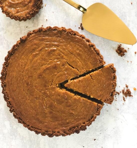 Spiced Pumpkin Pie, with Golden Cake Slice - Comfort Food - www.foodnerd4life.com