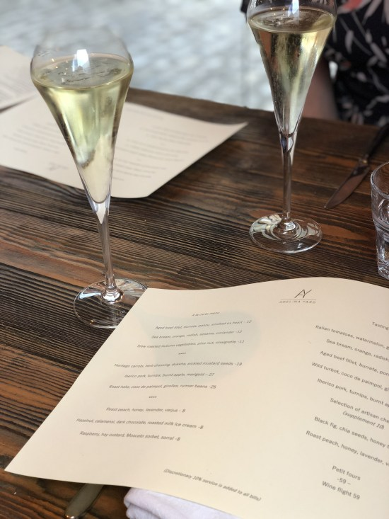 Menu and Glass of Champagne at Adelina Yard, Bristol - www.foodnerd4life.com