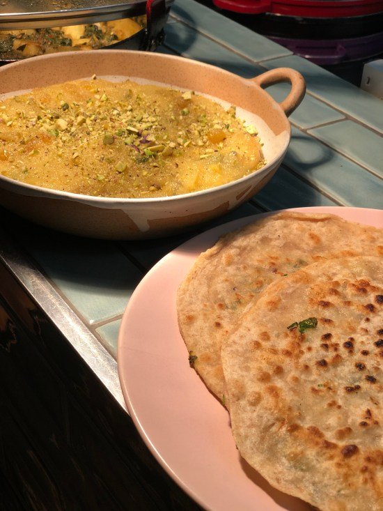 Indian Semonlina Pudding with Pistachios and Paratha at Pakistani Cookery Course at Migrateful www.foodnerd4life.com