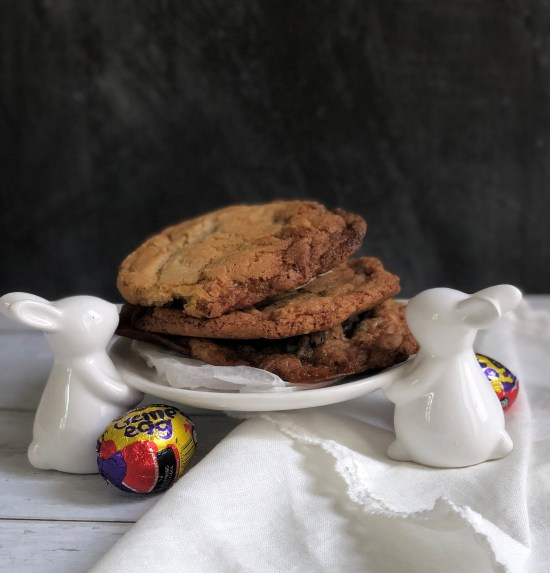 Creme Egg Cookies Recipe on Rabbit Cake Stand - www.foodnerd4life.com