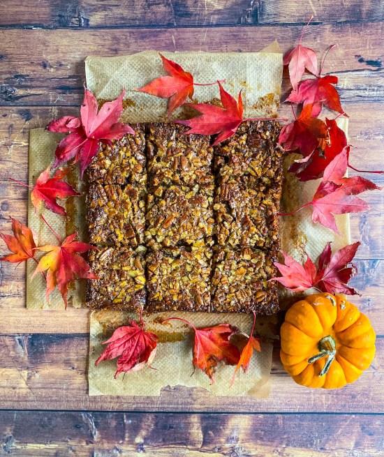 Pecan Pie Bars with Cinnamon Crust Recipe Overhead Shot - www.foodnerd4life.com