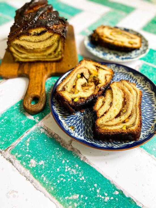 Slices and Loaf of Baklava Babka Recipe - www.foodnerd4life.com
