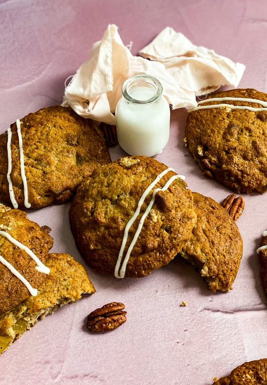 Hummingbird Cake Cookies Recipe with Glass of Milk- www.foodnerd4life.com