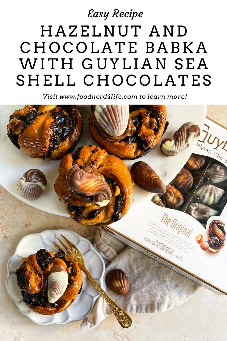 Hazelnut and Chocolate Babka with Guylian Sea Shell Chocolates Pin