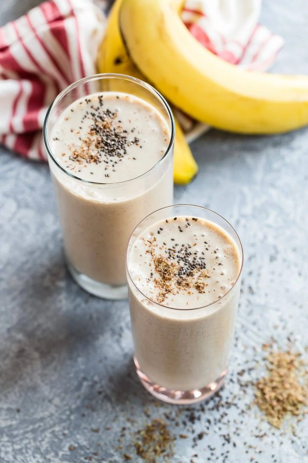 A delicious banana smoothie with almond butter