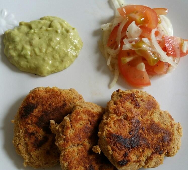 Vegan Cheese And Ryvita Patties With Avocado Dip