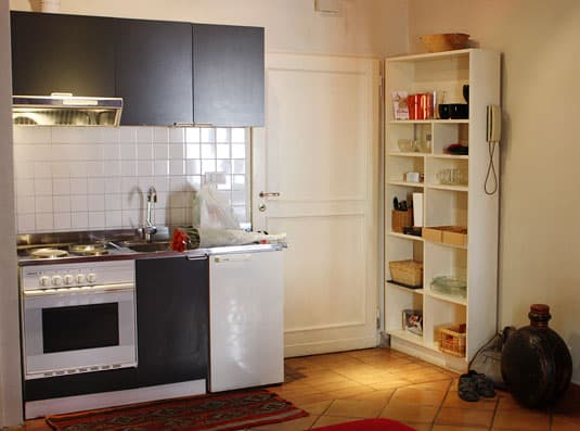 My kitchen in Rome (minus the bedside table)