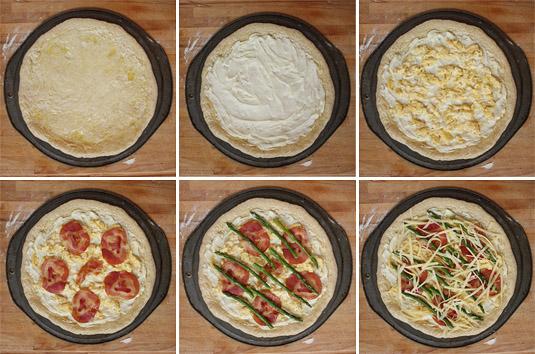 Assembling the Scrambled Eggs, Asparagus and Pancetta Breakfast Pizza