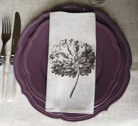 Set of 2 Natural Linen Napkins with Vintage Flower (By Bloomsong)