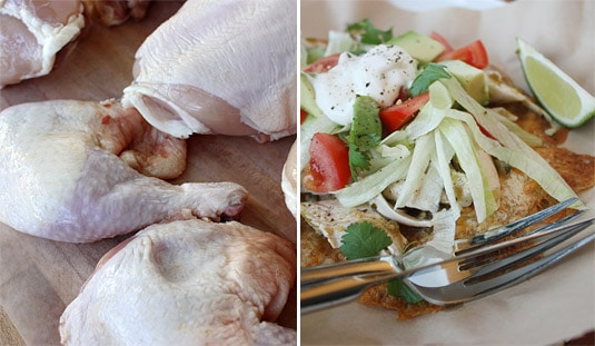 Before: Unappetizing raw chicken. After: Tasty Chicken Tostada.