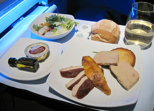 First Class Appetizer and Salad: Smoked Foie Gras and Duck Magret with Pan-Fried Mango and Toast; Seasonal Salad with Mixed Peppers, Celeriac Julienne and Radish, served with Balsamic Vinaigrette