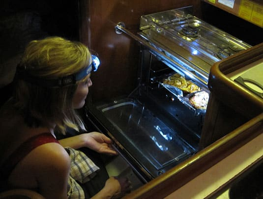 A headlamp proved to be a very helpful gadget to help me watch over the pizzas in the oven which has no interior light.