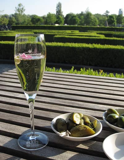 Champagne cocktail and bites on the terrace of DeKas to enjoy every bit of sun before sitting inside for dinner.