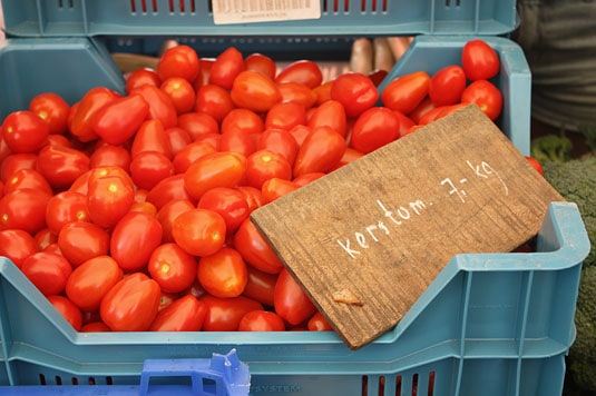 Beautiful cherry tomatoes at the Noodermarkt Organic Farmers' Market in Jordaan, Amsterdam