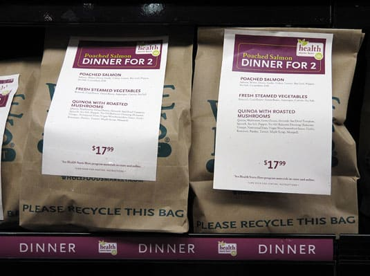 Healthy, ready-made dinners for two offered by Whole Foods Market in Austin, Texas.