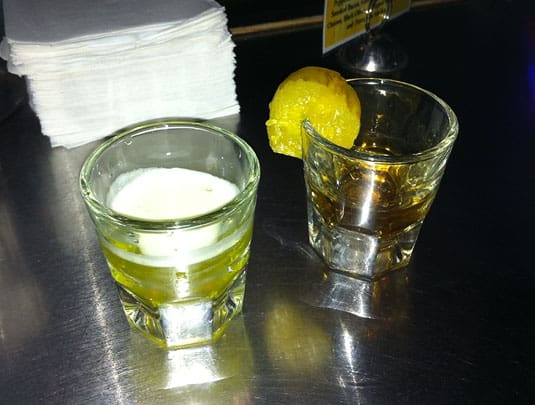 Pickle-Back Shot: A shot of Whiskey washed down by a shot of pickle juice. It's weird, but it kinda works!