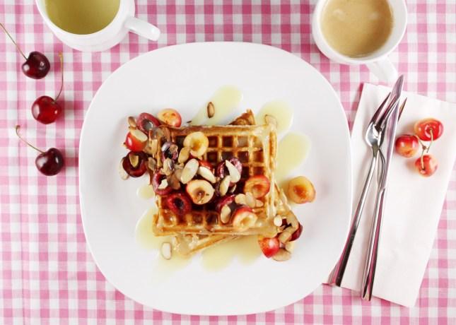 Yogurt and Oat Waffles with Fresh Cherries and White Chocolate Sauce // FoodNouveau.com