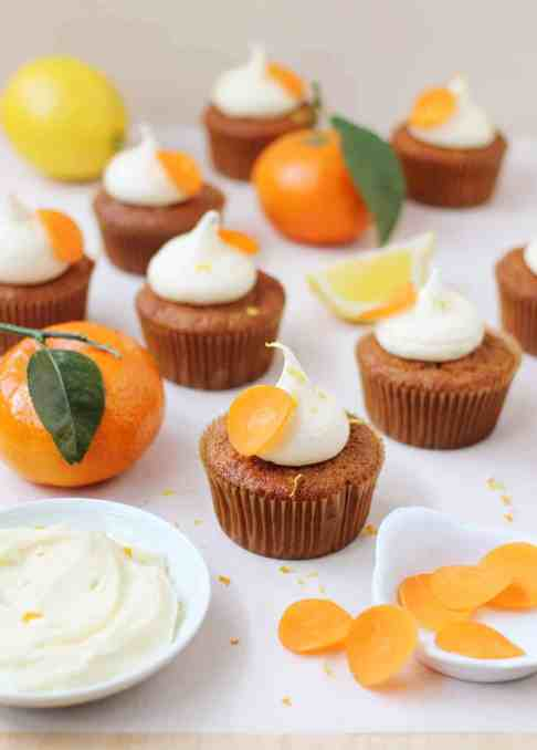 Orange and Carrot Cupcakes with Zesty Cream Cheese Frosting