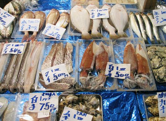 Just one of the hundreds of beautiful fish and seafood displays at Tokyo's Tsukiji Fish Market
