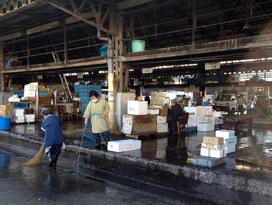 Cleaning up after a busy morning at Tokyo's Tsukiji Fish Market
