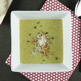Roasted Potato and Leek Soup with Arugula and Crispy Shallots