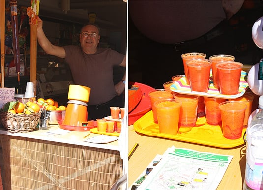 Left: The man who lovingly squeezes hundreds of oranges (with that small machine!) for our delicious pleasure;  Right: Blood orange or regular?
