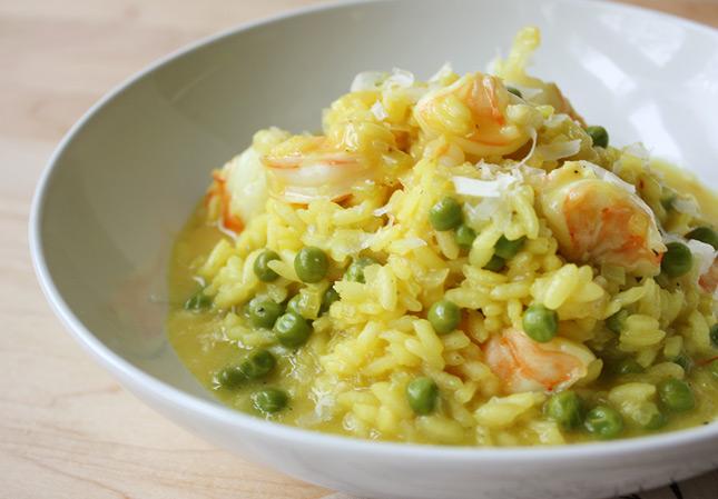 Shrimp & Pea Saffron-Infused Risotto