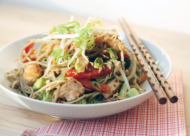 Salmon Soba Salad with Ginger-Peanut Dressing