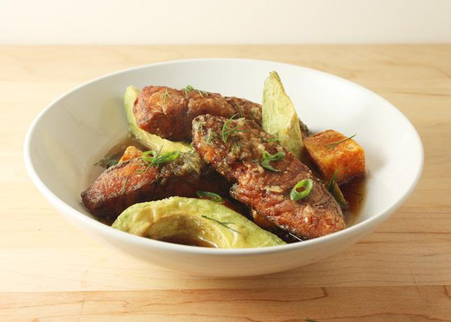 Avocado and Salmon in Dill-Daikon Broth, a recipe by Hiroko Shimbo / FoodNouveau.com