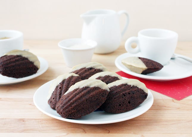 Mocha Madeleines with White Chocolate Glaze